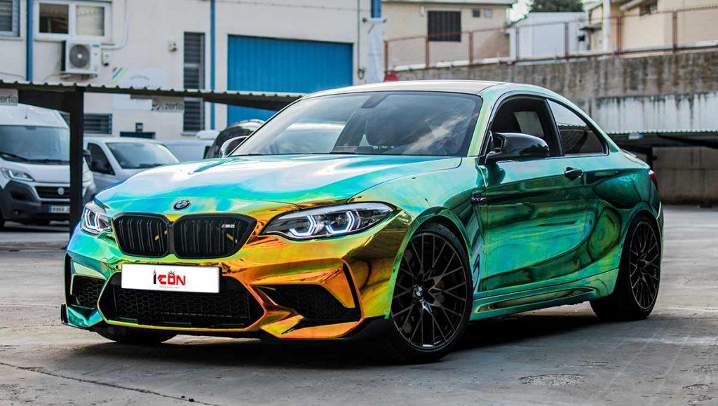 coche M2 vigilado con cromado atornasolado por ICON Custom & Wrap Center